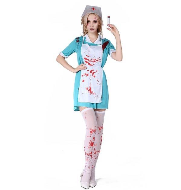 Uniforme de Enfermera Vestido de Sangre para Adultos