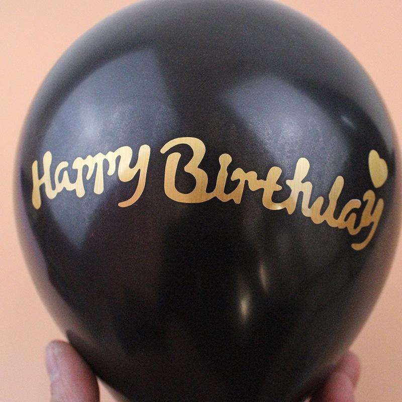 Letra Negra Globo Cumpleaños Decoración
