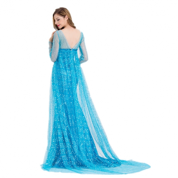 Disfraces Elsa Estilo de Lentejuelas Zzul Hielo y Nieve Vestido de Halloween para Mujer