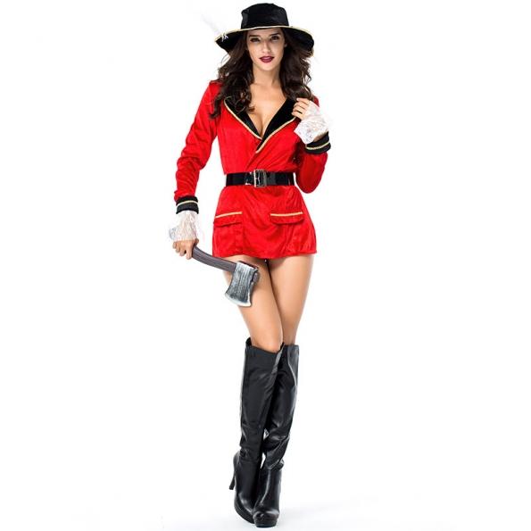 Disfraces Capitán Pirata El gran Traje de Marinero Rojo de Halloween