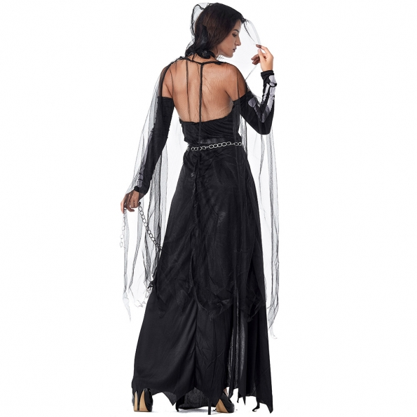 Disfraces Honda Impermanencia Vestido de Hilo Negro de Halloween de Miedo
