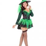 Disfraces Bruja Verde en V Profundo Vestido Sexy de Halloween