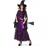 Disfraces Uniforme de Bruja de Estrella y Luna Púrpura Mago de Halloween para Mujer