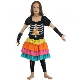 Disfraces de Colorido de la Parca Vestido Halloween para Niñas
