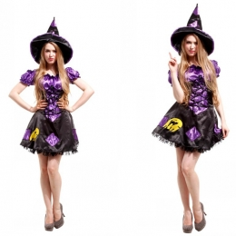 Patrón Negro Púrpura Disfraz de Bruja para Mujer