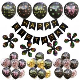 Letra Negra Impresión de Puntos Cumpleaños Globos