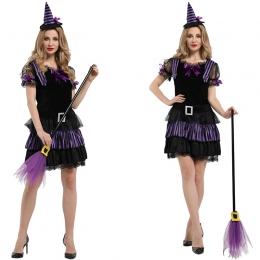 Disfraz de Bruja para Mujer Vestido Negro y Púrpura