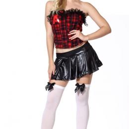 Disfraces Sexy de Dividido a Cuadros Uniforme Halloween