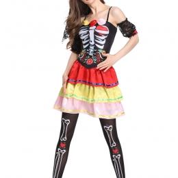 Disfraces Traje de Estante de Huesos de Calavera de Halloween de Miedo
