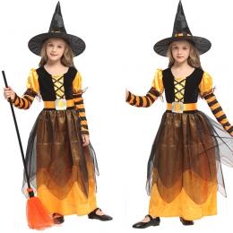 Disfraz de Bruja Infantil Naranja Vestido Negro
