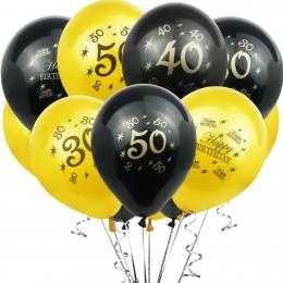Globo Número Dorado Negro Cumpleaños Decoración